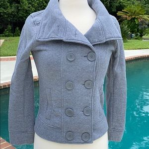 Ambiance double breasted long sleeve gray jacket